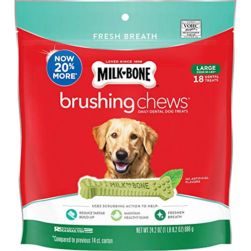 MilkBone Brushing Chews Daily Dental Dog Treats Large Treats 242 Ounce Pouch