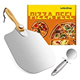 LetGoShop Pizza Peel Aluminum Metal Pizza Spatula 12 inch x 14 inch, Pizza Paddle with Foldable Wooden Handle Easy Storage for Baking Pizza and Bread, Pizza Turning Peel Set with Pizza Cutter