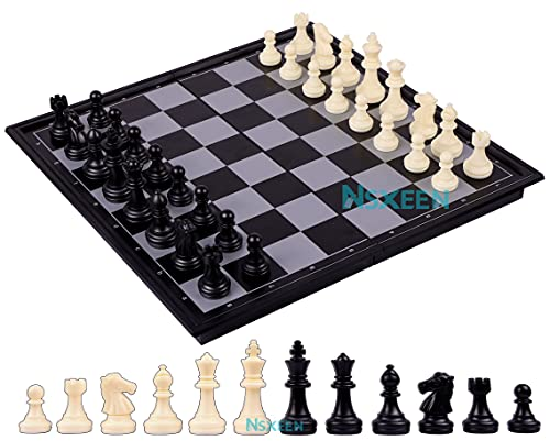 """NSXEEN Chess Board 10""""x10"""" Magnetic Chessboard Game Set with Folding Travel Portable Case Travel Chessgame Black & Ivory Color Pieces Prefect Gift for Kids and Adults   Pack of 1  """