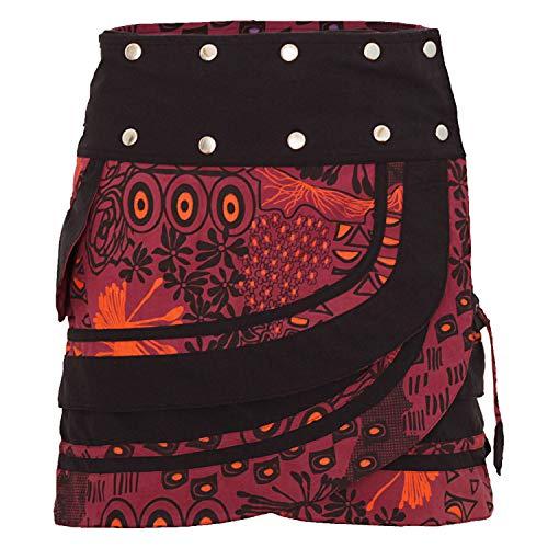 PUREWONDER Damen Wickelrock Baumwolle Rock mit Tasche sk196 Rot Einheitsgröße verstellbar