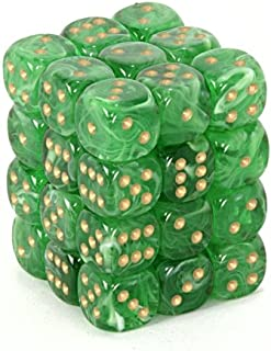 Chessex Dice d6 Sets: Vortex Green with Gold - 12mm Six Sided Die (36) Block of Dice