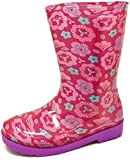 Carcassi Childrens Kids Girls Pink Flower Wellies Wellington Rain Snow Boots Size 6-12 (7 UK Child)