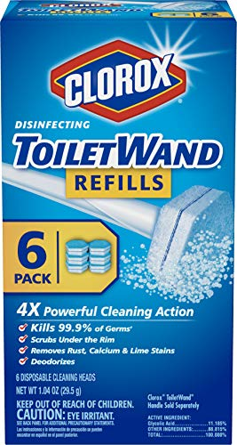 Clorox ToiletWand Recambios desinfectantes, cabezales de varita desechables, 6 unidades