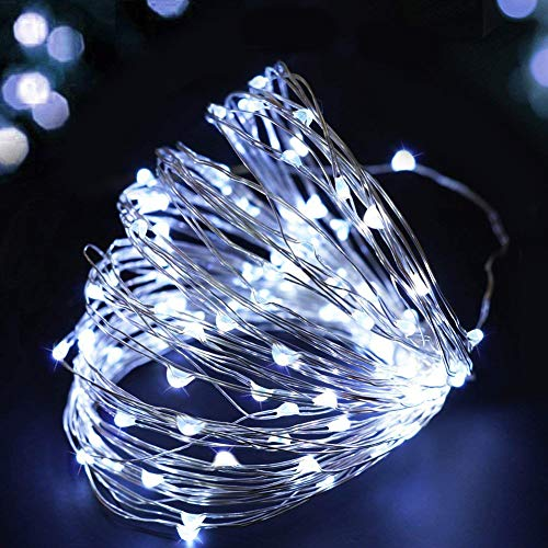 Bright Zeal 33 Ft Long LED Cool White Christmas String Lights Outdoor Waterproof - Cool White LED String Lights White Wire Battery Powered with Timer - Indoor Christmas Garland Christmas Tree Lights