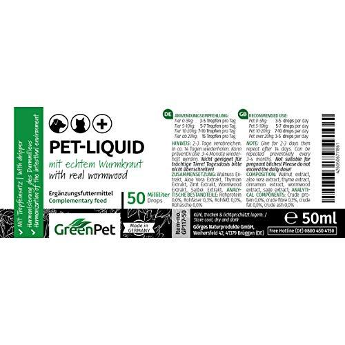 GreenPet 100% natürliches Wurm Pet-Liquid Tropfen Flüssig 50ml - Hunde, Katzen, Geflügel, Vögel, Kaninchen und Haustiere, Vor und bei Wurmbefall - 3