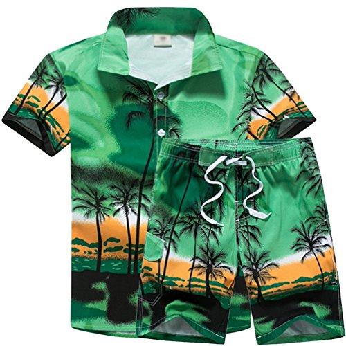 JEELINBORE Camisa Hawaiana para Hombre, Pantalones Cortos de Playa, Impresión de Hawaii Palmera de Coco (Verde, L)