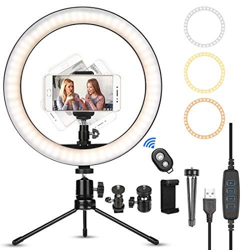 LED Selfie Ringlicht, Selfie Ringleuchte mit Stativ & Handyhalter und Fernbedienung, 3 Leuchtmodi & 10 Helligkeitsstufen Ringlicht für Videoaufnahmen, Live-Stream, Makeup, Fotografie