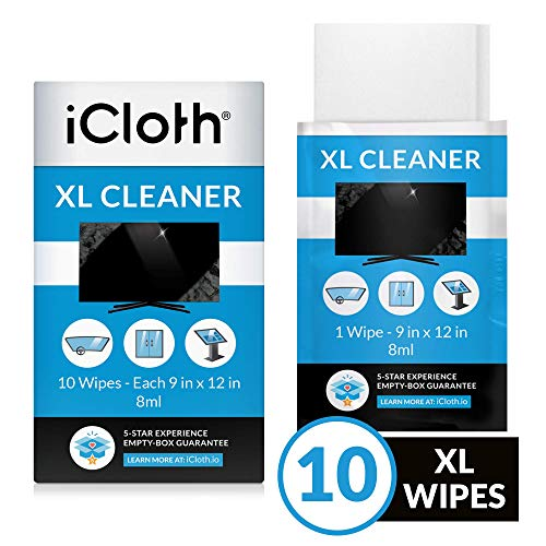 iCloth Extra Large Monitor and TV Screen Cleaner Pro-Grade Individually Wrapped Wet Wipes, 1 Wipe Cleans Several Flat Screen TV's and Monitors, Box of 10