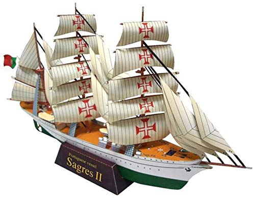 Papercraft 1: 300 Sagres Portugal □ Navegación de Entrenamiento de Vela Moldes Papeles de Papel de Guerra 3D High Dciesty Hecho a Mano Origami 3D Cube Papel Molde Sorpresa Regalo de cumpleaños