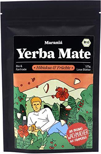 Marania® Yerba Mate Tee Bio Mischung ● Hibiskustee Früchtetee lose ● 125g Tee lose ● Getrocknete Hibiskusblüten, Beeren und Apfel