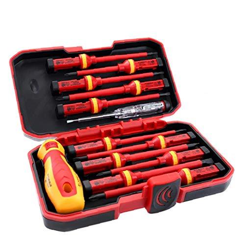 Berrywho Destornillador de Electricista Aislado 1000V Conjunto de Herramientas magnético de reparación Puntas Intercambiables Caja del Kit 13pcs