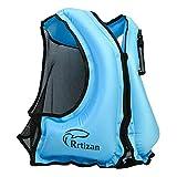 Rrtizan Unisex Snorkel Vest Swim Float Vest Portable Inflatable Kayak Canoeing Jacket Diving Watersports for Adult Women Men