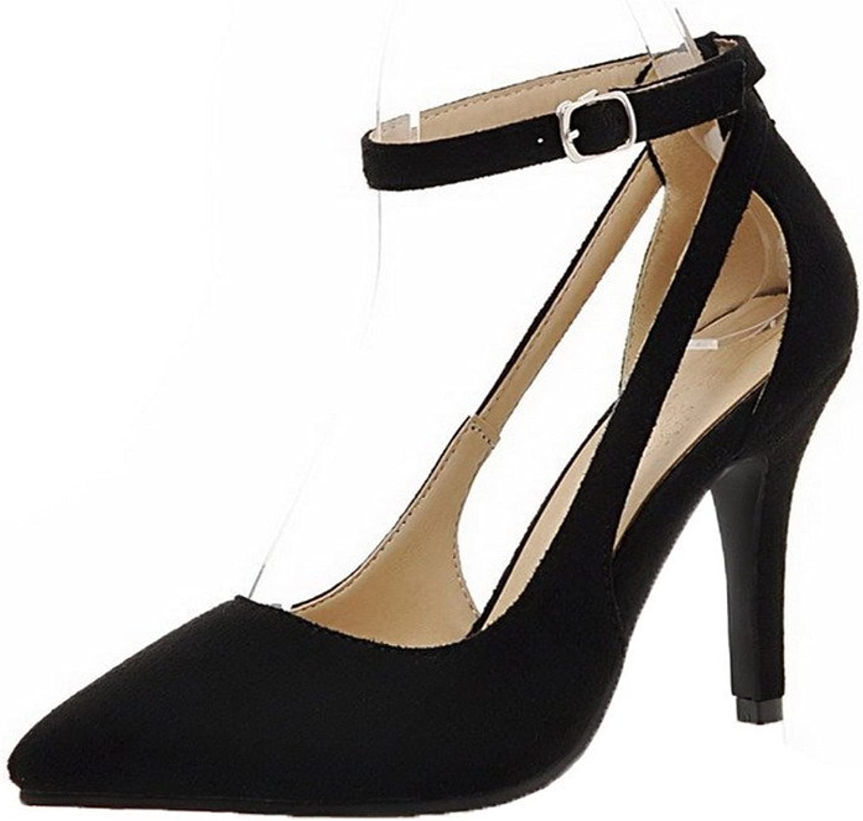 AmoonyFashion Women's Nubuck Leather Pointed-Toe Kitten-Heels Buckle Court shoes