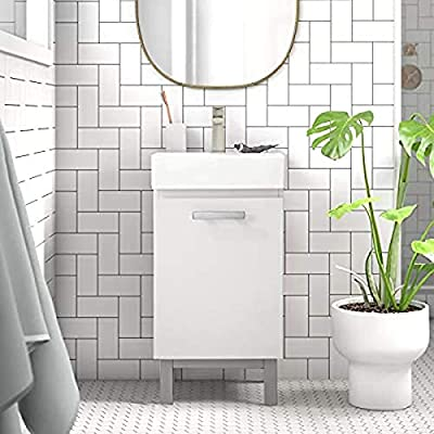 """LUCA Kitchen & Bath LC17XWP Brielle 16.5"""" Single Sink Bathroom Vanity Porcelain Countertop-Freestanding or Wall Mounted, Pure White"""