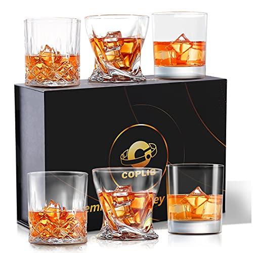 COPLIB Whiskey Glasses Set of 6|3, Old Fashioned Glasses with Luxury Box, Premium 11 OZ Crystal...