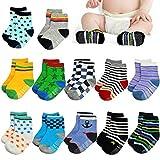 DYFFLE 12 Paare Baby Socken - Unisex 0-36 Monate Stopper Socken Baby, ABS Socken Baby, Rutschfeste Socken Baby, Babysocken Neugeborenes, Erstlingssöckchen, Anti Rutsch Socken Baby