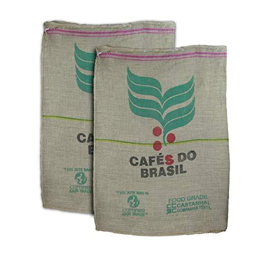 Pack con 2 Sacos de café auténticos. Reutilizados. Ideales para tapicería y escaparatismo. Aspecto cálido, rural. 100% fibra vegetal de Yute. Incluye manual de limpieza.