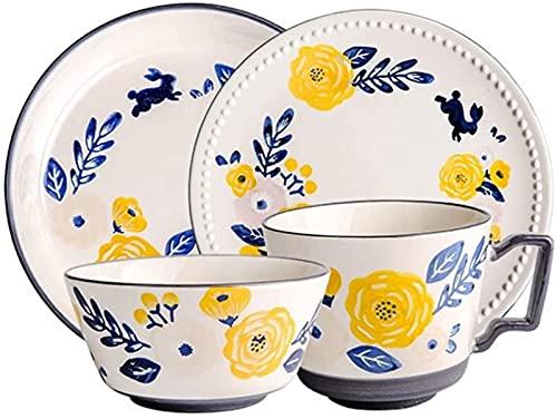 Juego de Platos, Set de vajillas de 4 Piezas para Personas solteras, Grupo de Flores Grupo de Porcelana, Tazones, Platos y Tazas, Apoyo Lavavajillas y Microondas, Azul, Euro Ceramica (Color : Blue)