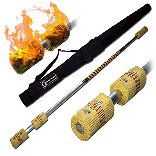 Pro Bâton de Contact (Inflammable) (140cm/4x65mm Meche) + Flames N Games Sac de Voyage! Staff de Contact AKA Contact Fire Staff Inflammable Professionnel Bâtons Indien, Medium Flammes!