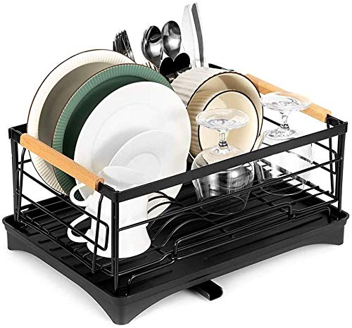 vocheer Dish Drying Rack, Stainless Steel Dish Rack and Drainboard Set for Counter Large Kitchen Dish Rack with Detachable Drainboard,Black