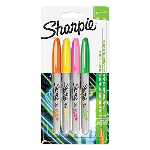 Sharpie rotuladores permanentes, punta fina, surtido de colores fluorescentes, paquete de 4