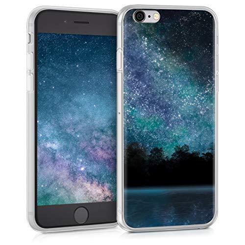 kwmobile Cover compatibile con Apple iPhone 6 / 6S - Back Case Custodia in silicone TPU trasparente Acqua e luna blu/nero