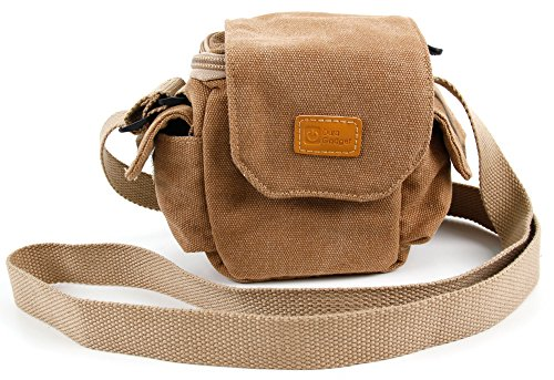 DURAGADGET Light Brown Small Sized Vintage Canvas Carry Bag - Compatible with The The Poke Mini Camera Drone