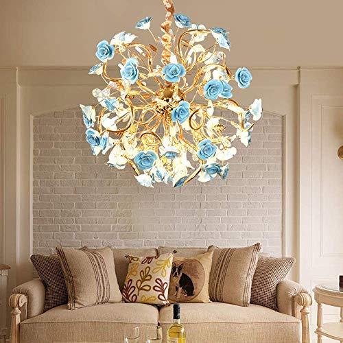 Lámpara de techo – Lámpara de techo – Blue Rose Francés Art Pastoral – Lámpara de techo moderna LED dorado 65 × 65 × 65 × 65 cm lámpara colgante