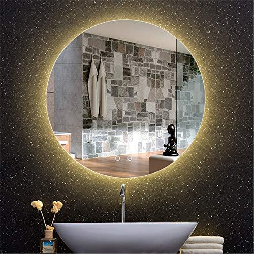 HL - Espejo de baño con luz LED inteligente antivaho y doble interruptor de 70 cm, apto para maquillaje de baño, color blanco - 70 cm