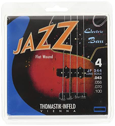 """Thomastik Cuerdas para Bajo Eléctrico Jazz Bass Serie niquel entorchado plano juego 4 cuerdas JF344 escala larga 34"""""""