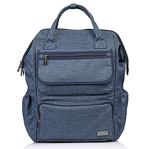 LEMESO Wide Opening Mouth Backpack, Large Capacity School Bag with Multi-Functional Pockets for Women Men Students Laptop Christmas gifts Blue
