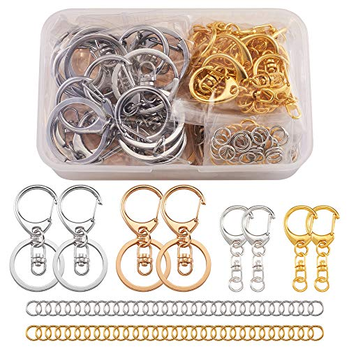 Cheriswelry 120pcs Jump Rings D-snap Hook Split Key Ring Mixed Colors Keychain Parts with 8mm Open Jump Ring Connectors for Jewellery Crafts Making