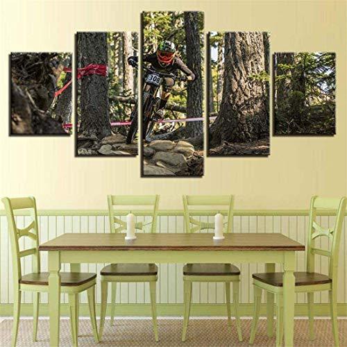 Refosian 5 pinturas de arte de pared (madera Fra200X100Cm lienzo arte estilo pared cuadros modulares 5 paneles paisaje de ciclismo para sala de estar decoración moderna pintura pintura - usado pa
