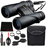 Nikon 10x42 Monarch 5 Fully Coated Optics with Fogproof/Waterproof & 10x Magnification Binoculars Bundle + Microfiber Cloth + Lens Pen & Blower (Model #7577)
