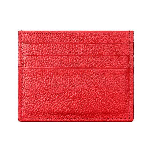 Tarjetero con protección RFID, de la marca Hibate, fino y de cuero auténtico, A1_Red (Rojo) - D034-RED