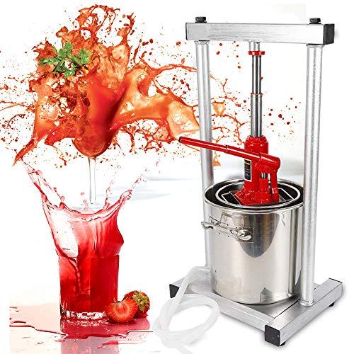 12L Stainless Steel Fruit Press Crusher Grinder Cider Wine Juice Making Grinder Pulping Machine w/Hydraulic Jack for Fruit Wine Juice Making (USA Stock)