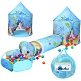 3 in 1 Kinder Spielen Zelt Crawl Tunnel Ballgrube mit Ball Hoop Ocean Cartoon Pop Up Spielhaus Zelt...