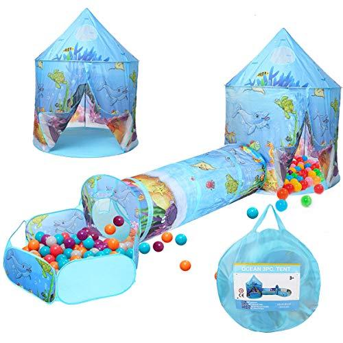 3 in 1 Kinder Spielen Zelt Crawl Tunnel Ballgrube mit Ball Hoop Ocean Cartoon Pop Up Spielhaus Zelt Indoor Outdoor Verwendung Kinderspielzeug Geschenke für Kinder Baby Mädchen Jungen Kleinkinder