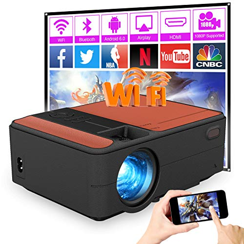 HD Wireless Bluetooth Projector Mini Portable 3800Lumen 2021 Upgrade LED LCD Home Theater Projectors Android 7.1 Compatible with WiFi HDMI USB iPhone/PS4/TV Stick/DVD/YouTube