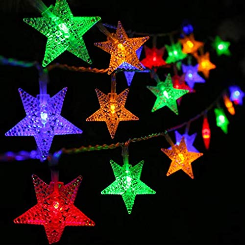 DAIREN Star Christmas Lights,Twinkling Star LED Indoor String Lights, Multi-Mode Indoor and Outdoor Decorations for Christmas Wedding Birthday Party in The Bedroom Living Room (19.6Ft/Colorful)