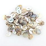 Ecloud Shop Lote de 100 Botones Nácar Redondo 2 Agujeros DIY 9 mm