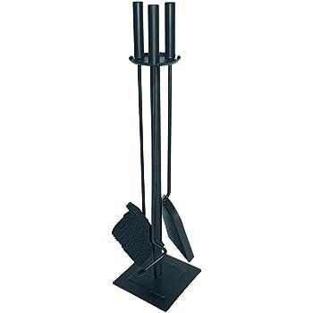 JVL–Malham contemporáneo Chimenea Conjunto de Herramientas, Acero, Negro, 15x 15x 61cm, 3Piezas