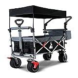 TOPWELL All-Terrain Faltbar Klappwagen mit Dach, Patentiert 360° Räder Gartenwagen, Breite AutoReifen Bollerwagen, Transportwagen mit Überdachung und Doppelbremse 100L, 120KG