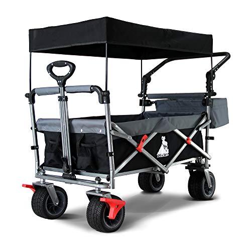TOPWELL All-Terrain Bollerwagen Faltbarer 360° Räder Gartenwagen Strandwagen mit Dach und Doppelbremse 100L, 120KG