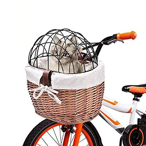 Newin Star Hundefahrradkorb, gewebt Fahrradkorb mit Metalldeckeln, Haustier Trägerkorb für Outdoor-Camping-Lebensmittelgeschäft Basket
