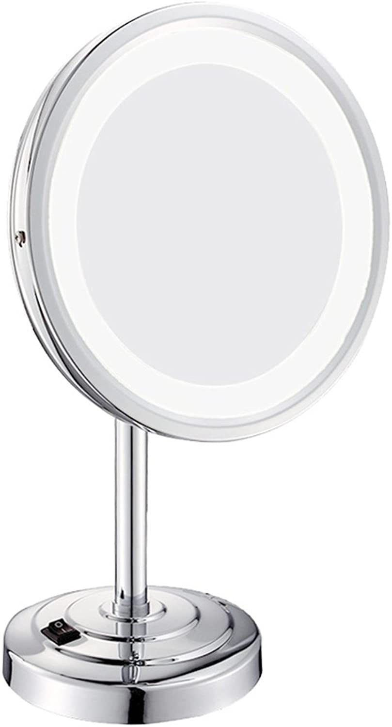 LED Illuminated Makeup Mirror Tabletop Swivel Lighted Beauty 180° Free redating Desktop Horizontally Vanity Mirror, Silver, 8inch