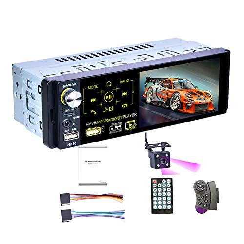 Runningfish Autoradio mit Bluetooth freisprecheinrichtung, Auto Radio USB mit Display und Fernbedienung, 1DIN, 4,1-Zoll-Touchscreen, AM/FM/RDS, IR-Rückfahrkamera, 7-Farben-Hintergrundbeleuchtung