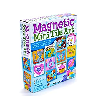 4M 4563 Magnetic Mini Tile Art - DIY Paint Arts & Crafts Magnet Kit for Kids - Fridge Locker Party Favors Craft Project Gifts for Boys & Girls