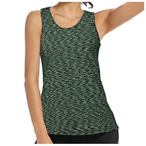 VEMOW Chaleco Camisola Chaleco de Yoga Delgado para Mujer Cuello Redondo, Elegante Béisbol Camiseta de Tirantes Informal de Verano Camisetas de Deporte Casual Fiesta Camisa Tops(Verde,M)