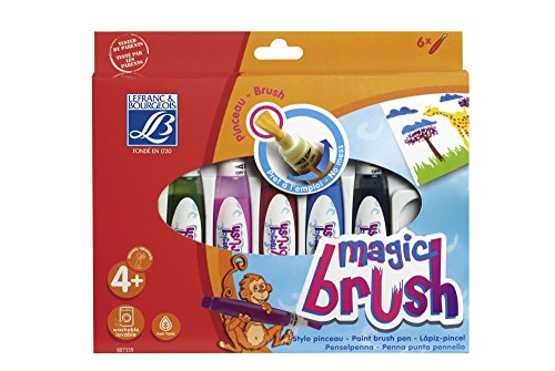 Lefranc Bourgeois - Magic Brush, applicateur de gouache pour enfants - Boîte de 6 x15ml